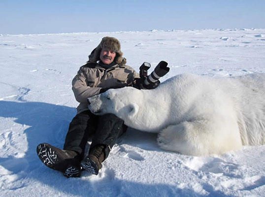 Peter Lourie and a tranquilized polar bear